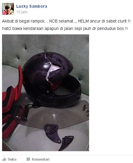 begal bacok helm