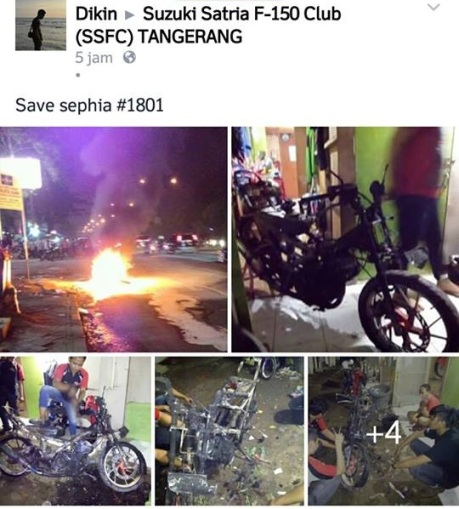 satria terbakar