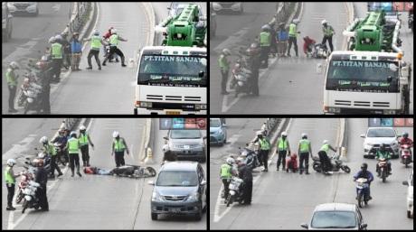 terobos busway motor dijatuhkan polisi (1)
