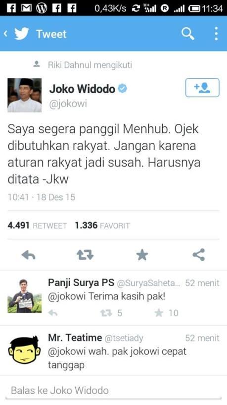 twitter presiden jokowi mengenai gojek (1)