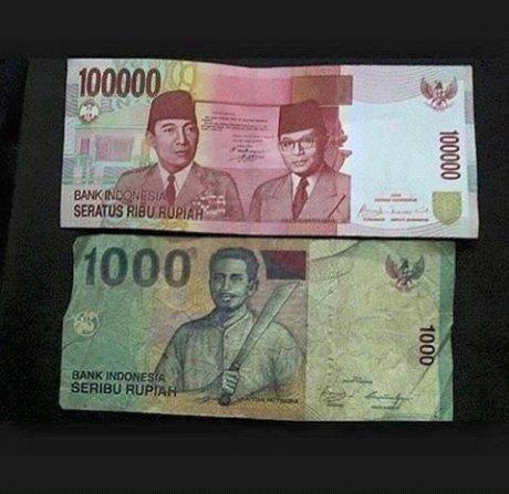 uang seribu dan seratus ribu