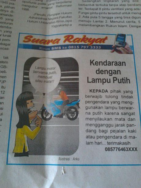 surat pembaca warga terganggu lampu putih menyilaukan